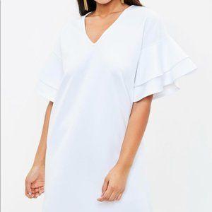 Missguided ruffle white shift dress